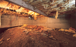 Crawl Space Moisture Barrier before in Amarillo