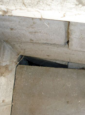 inward rotation of a foundation wall damaged by street creep in a garage in Candian