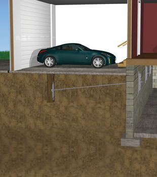 Graphic depiction of a street creep repair in a Shamrock home