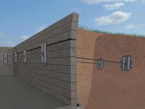 A graphic illustration of a foundation wall system installed in Panhandle
